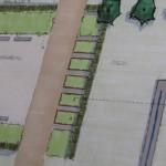 Detail schetsontwerp 'Tussen Kerk en Klooster' – toegang met verhoogde borders