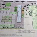 Tuinontwerp moderne voortuin met lange vijver en megategels 350 m2