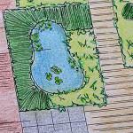 Tuinontwerp detail vijver in achtertuin