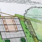 Tuinontwerp van moderne tuin met pergola en lange tafel omringd door groen