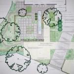 Tuinontwerp moderne voortuin met lange vijver en megategels