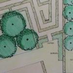 Tuinontwerp met doolhof voor tuin bij Huis D'ever te Hillegom