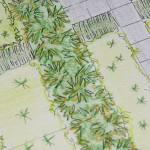 Detail ontwerp met beplanting en border met siergrassen
