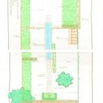 Tuinontwerp moderne tuin met lange vijver 350 m2